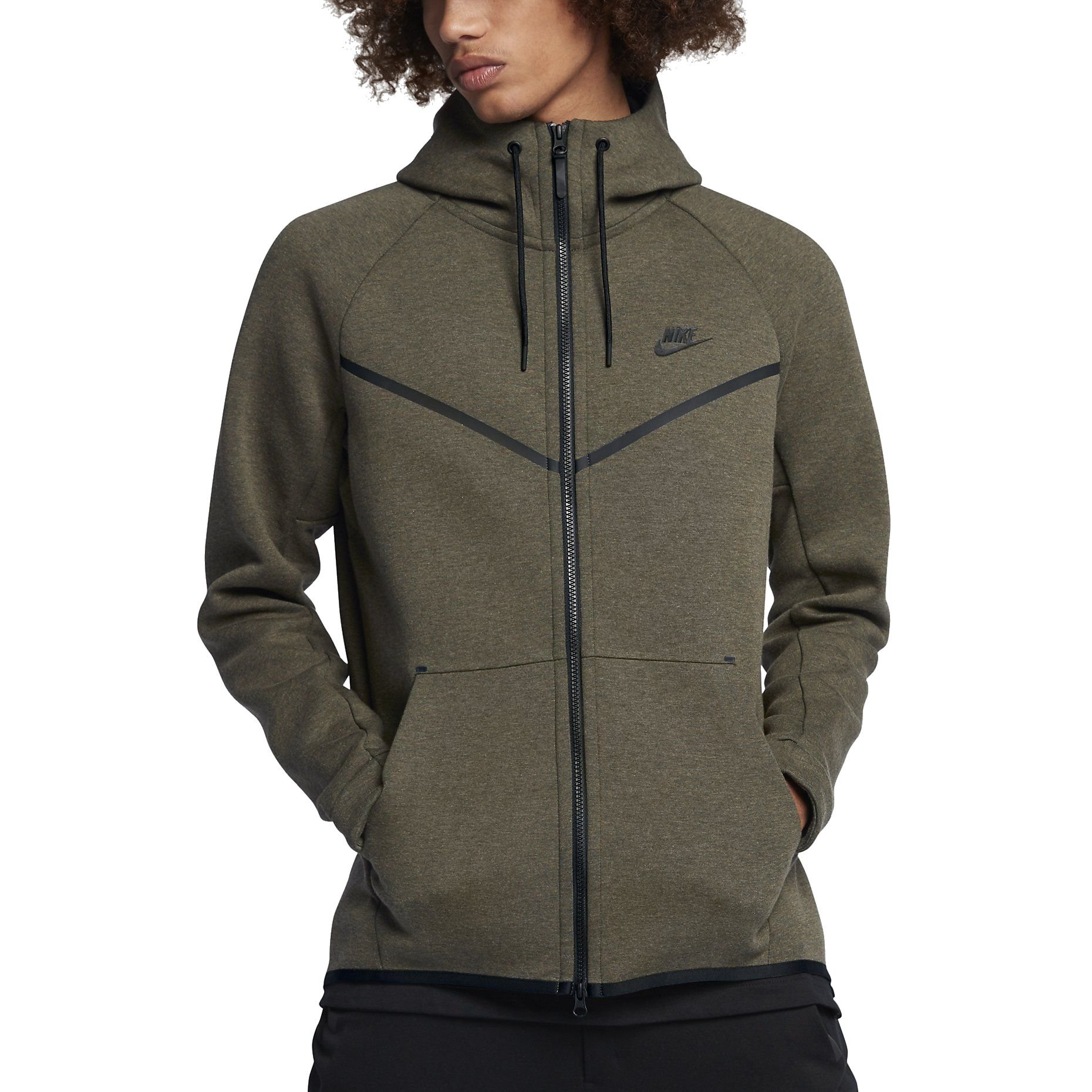8ee0f12b38 Nike Mens Tech Fleece Hoodie Jacket Olive/Heather/Black (Large)