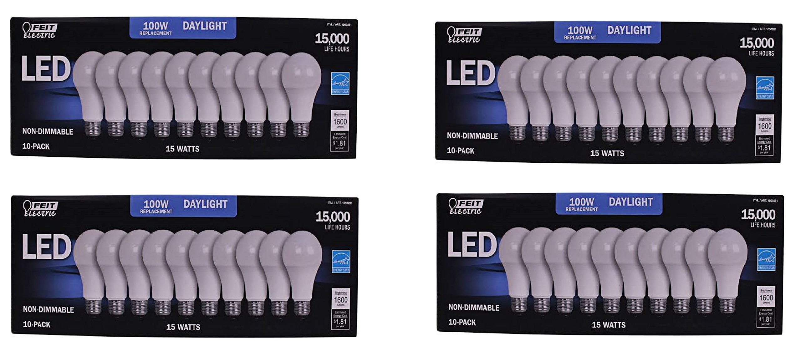 FEIT 100w LED Replacement Bulbs using 15W Daylight 5000K 1600 Lumens (40 Lamps)