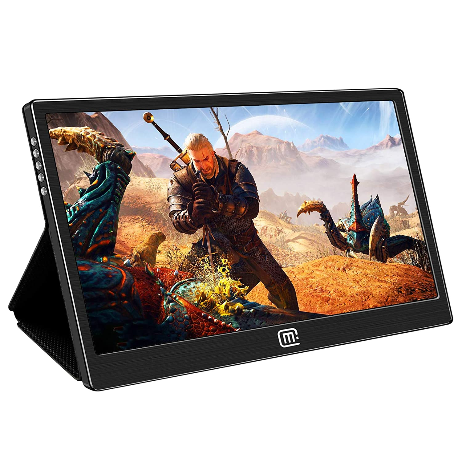 13.3 Inch 1080P Portable Monitor,1920 1080 Gaming Monitor Display IPS Screen Type-C and Mini HDMI Input HDR,PD Charge,OTG Port Compatible with Laptops Mini PC Smartphone Nintendo Switch