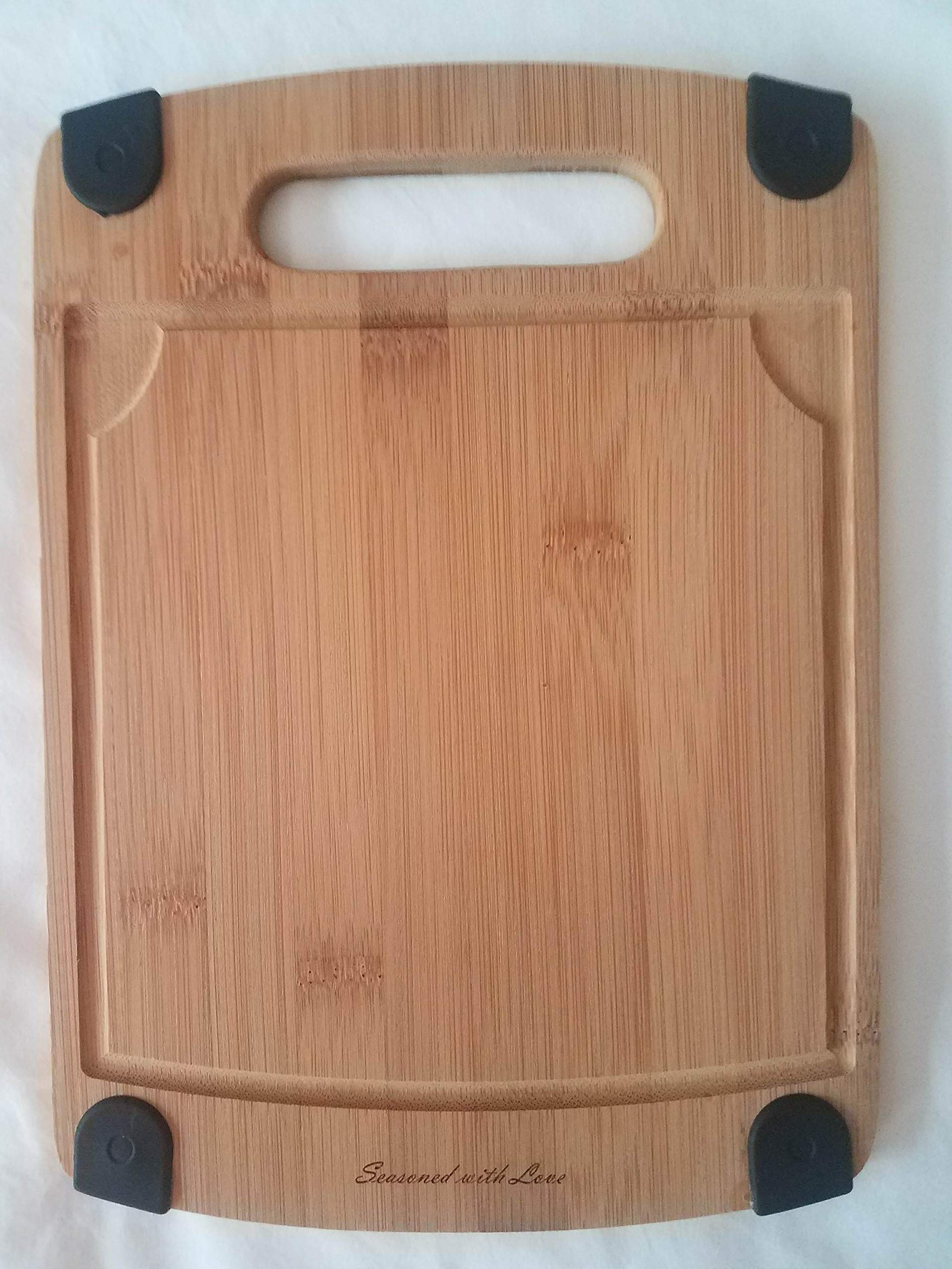 Organic Bamboo Cutting Board with Juice Grooves & non-slip rubber ends, Custom engraved with''Sprinkled with Love'', Premium Quality, Antibacterial Bamboo Chopping Board & Cheese & Fruit Tray, Kitchen