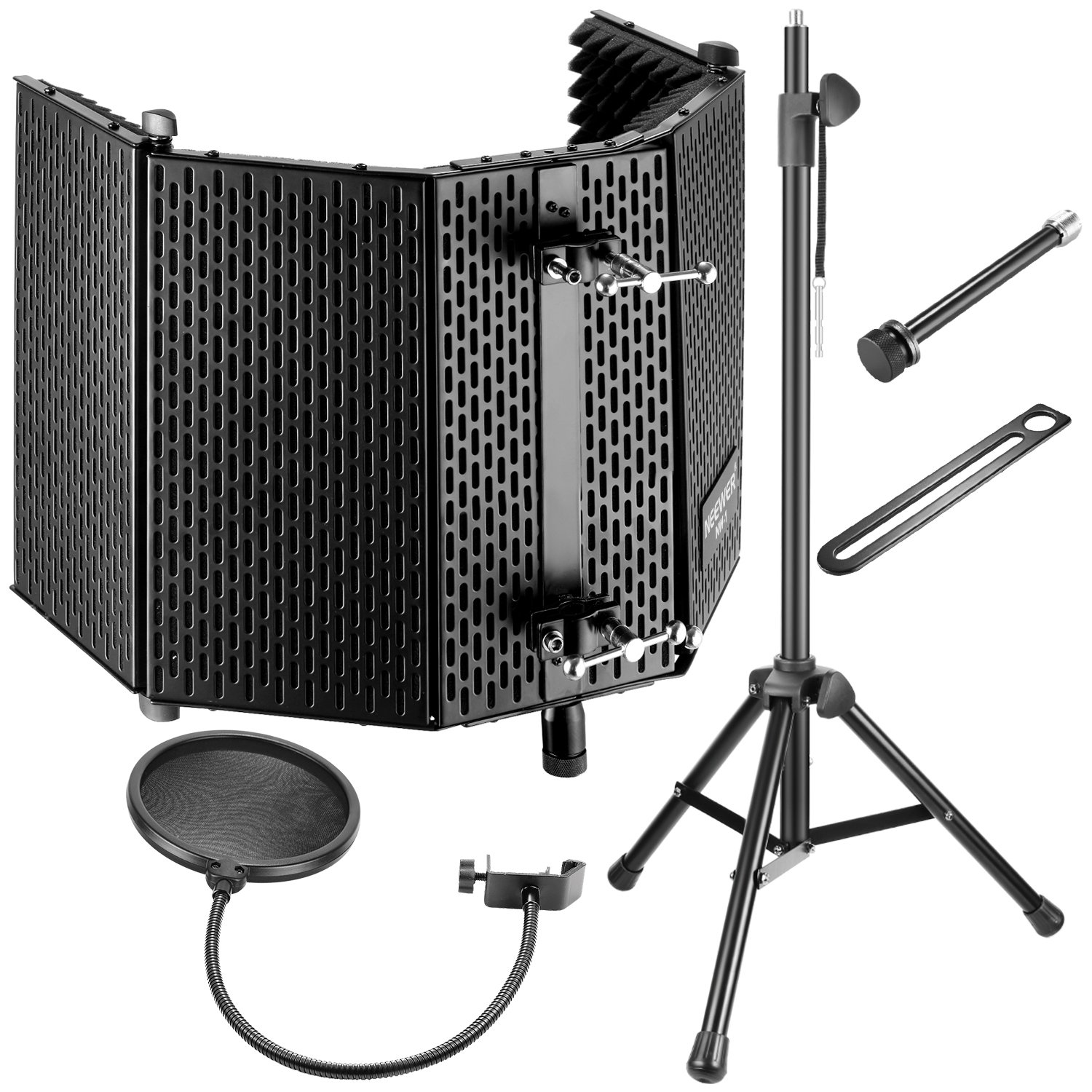 Neewer Professional Microphone Studio Recording Accessories Include: NW-1 Microphone Isolation Panel, Wind Screen Bracket Stand and Pop Filter for Vocal Acoustic Recording and Podcasting by Neewer