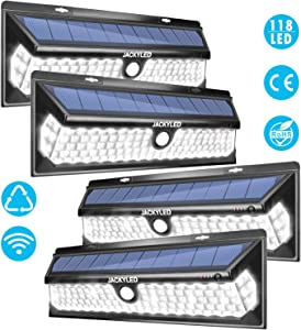 Solar Motion Sensor Lights Outdoor JACKYLED Super Bright 118 LED Porch Lights with Larger Solar Panel Waterproof Wireless Wall Mount Security Lighting for Garden Yard Garage Front Door (4-Pack, Black)
