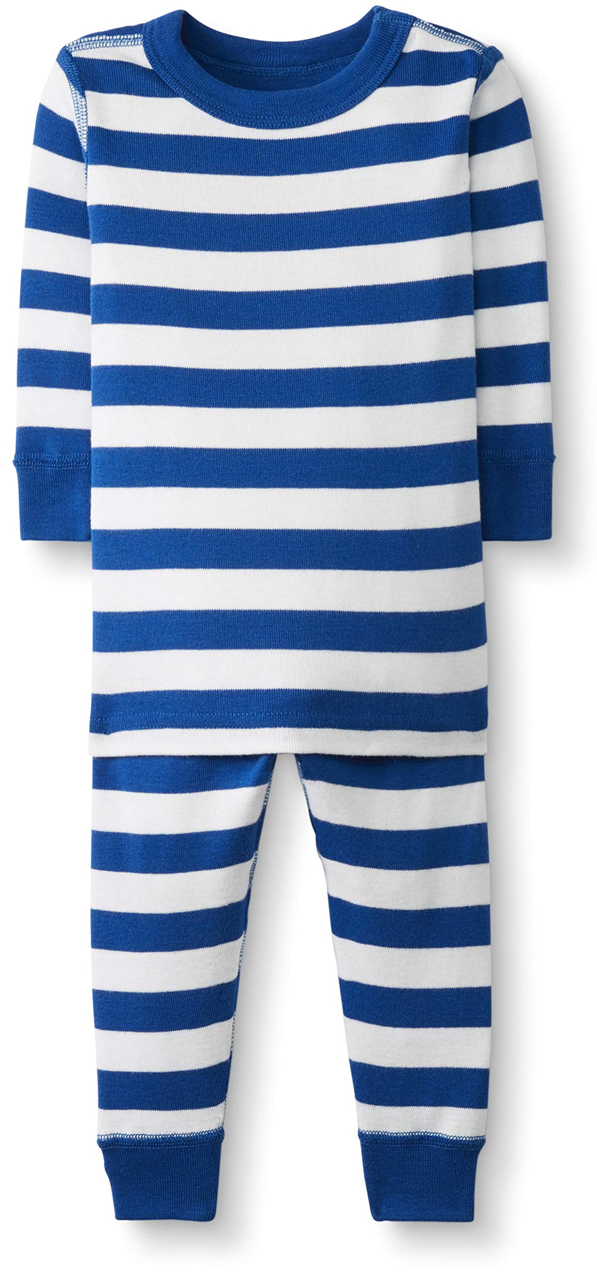 Hanna Andersson Baby/Toddler 2-Piece Organic Cotton Pajama Set Baltic Blue/Hanna White-60 by Hanna Andersson