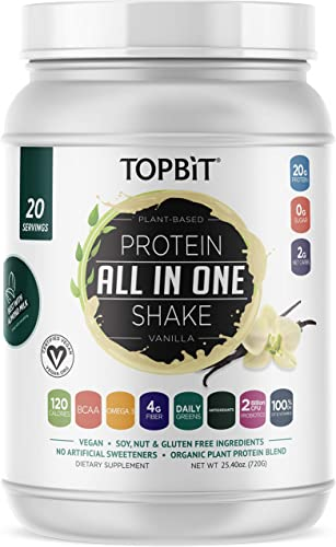 TOPBiT All-in-One Plant Protein Powder, Vanilla Vegan Protein Powder, Sugar Free Protein, Stevia Free, Nut Free, Soy Free, 20g Protein Shake, Probiotics, BCAA, Greens, 1.8LB