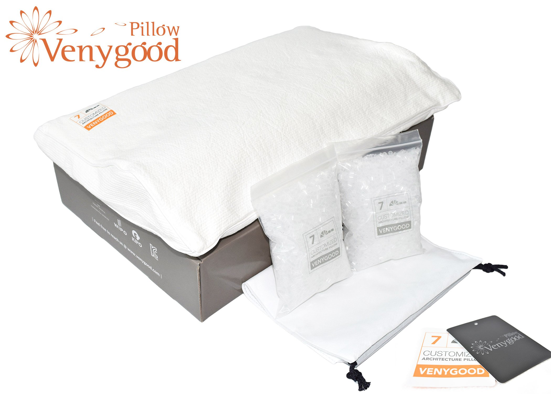 Venygood Premium - Hilton Conrad Pillow, SCI Proven Cure for Neck N Back Pain. Microbead for Therapeutic Chiropractic Good Sleep Purposes. Real Innovations, Migraine Gone! Cervical Memory Foam Pillows
