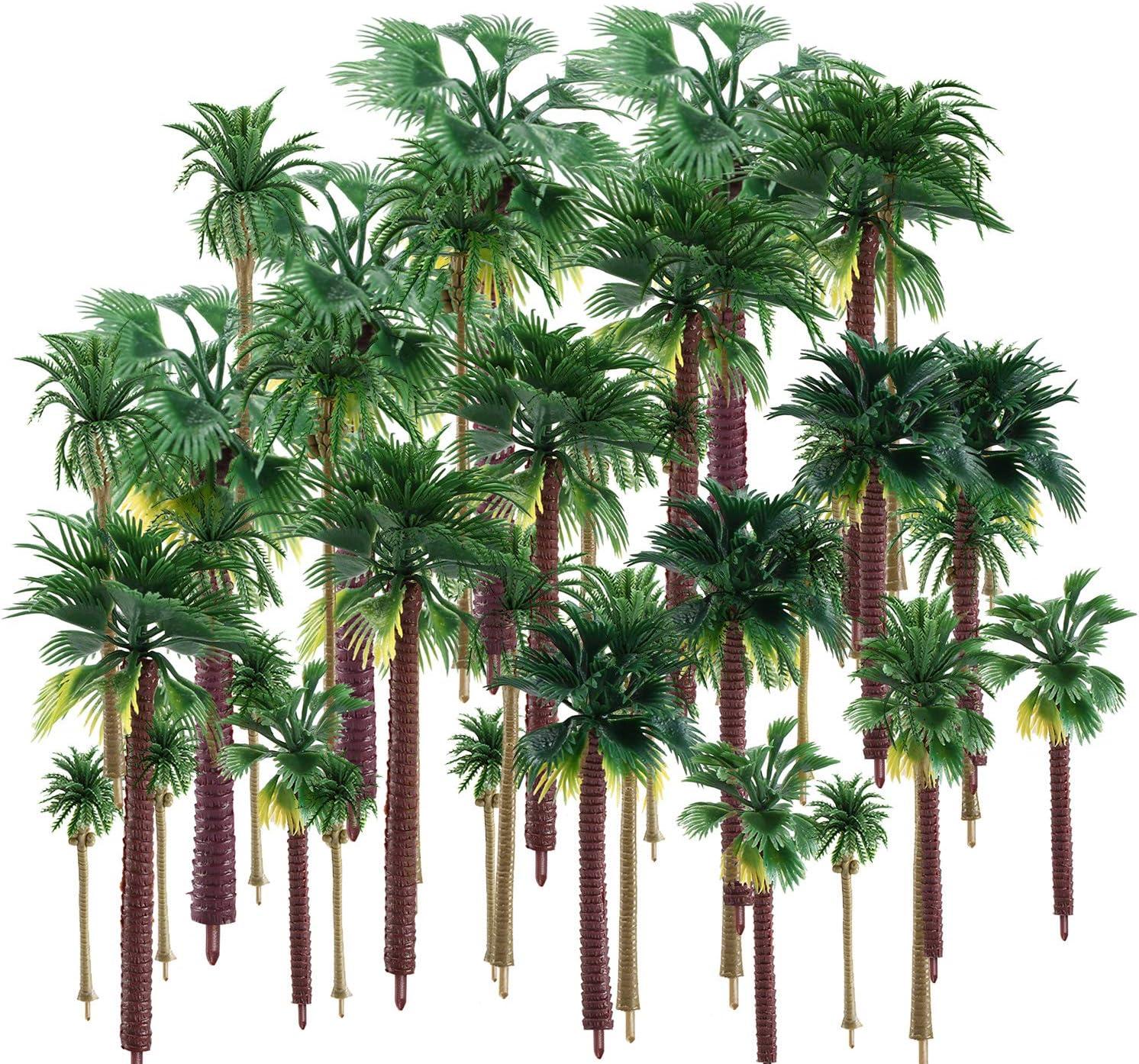 trounistro 30 Pieces Model Trees Model Coconut Palm Tree Train Scenery Miniature Landscape Scenery Diorama Models Architecture Trees