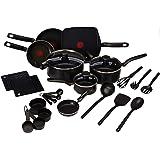 T-fal B207SK64 Batería de Cocina Initiative, color Negro, 20 Piezas, con tecnología Thermo-spot, cuenta con interior y…