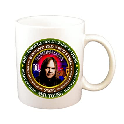 Amazon com | Neil Young 70's Singer Cup, Astrology Scorpio Zodiac