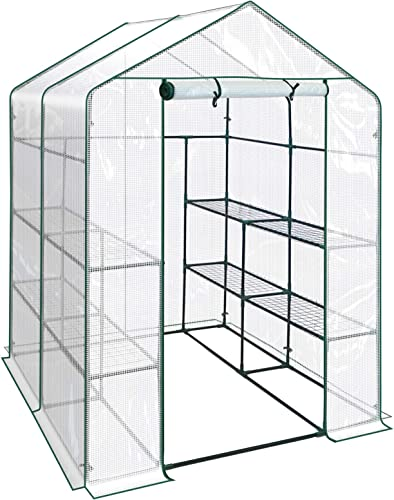 BenefitUSA Outdoor Mini Walk-in Greenhouse for Plants Flowers Vegetables House Yard PE, 56 x56 x76.7