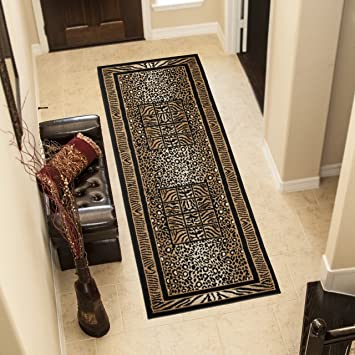 TAPISO® Tapis De Couloir Moderne - Collection Atlas - Couleur Marron ...