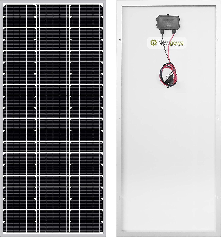 Newpowa Panel solar monocristalino de 100 W 12 V de alta eficiencia, módulo monocristalino RV barco marino fuera de rejilla