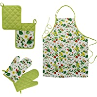 Charmeuse Kitchen Apron Set for Women and Men, 5 Piece set with Oven Mitt, Potholders and Bread Basket – Perfect Gift…