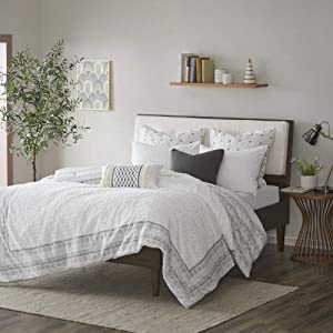INK+IVY Comforter, Cotton Clipped Jacquard Season Down Alternative Cozy Bedding with Matching Shams, Full/Queen(88