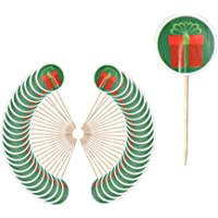 Festive Party Time Christmas Cocktail Stick Toppers - Red Present (48 Pack)