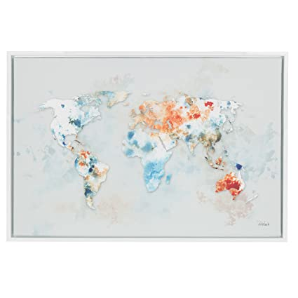 Amazon.com: Kate and Laurel Sylvie World Map 33x23 White Framed ...