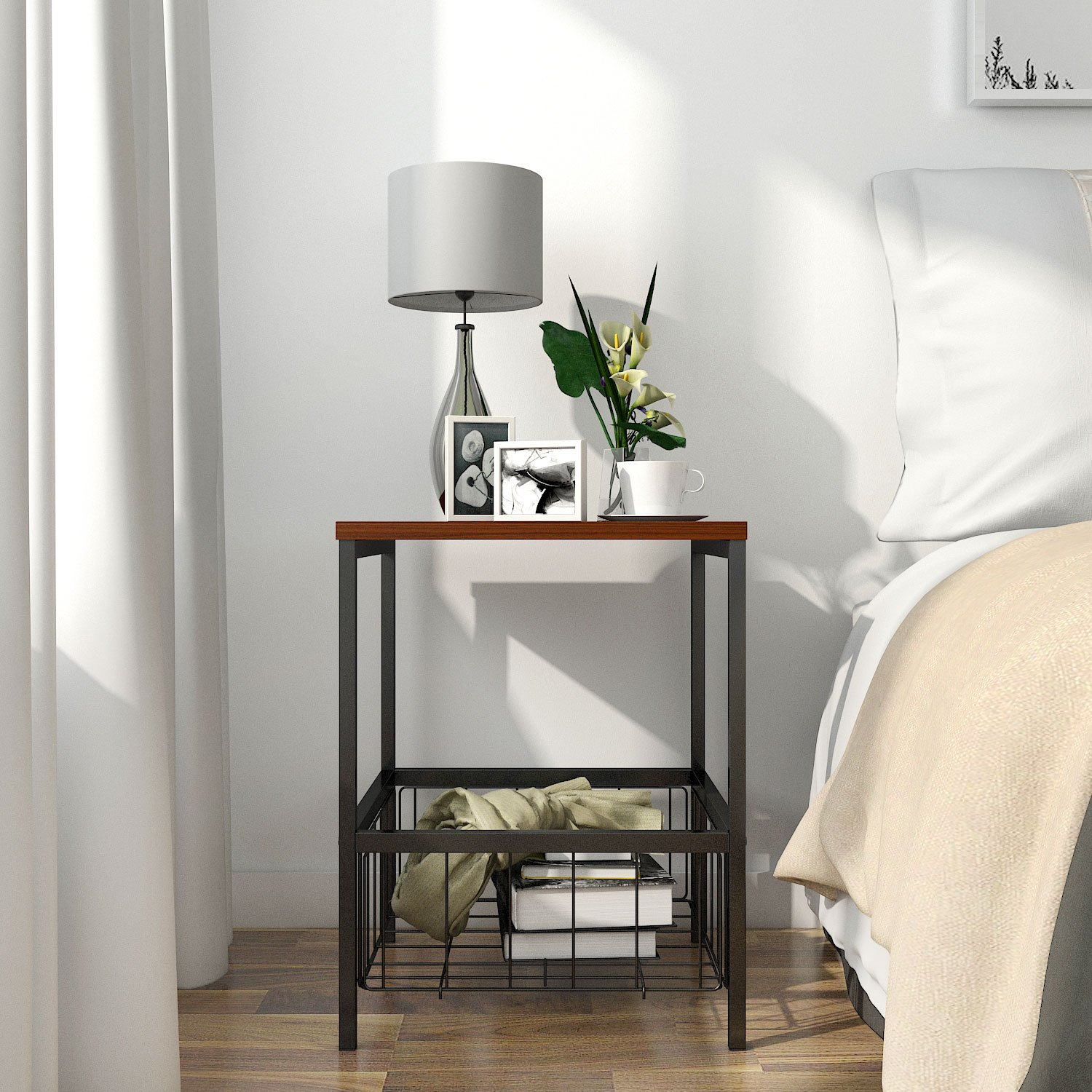 Amazon com lifewit 2 tier nightstand with storage basket sofa table end table for bedroom living room modern design brown 15 7 x 15 7 x 20 inches home