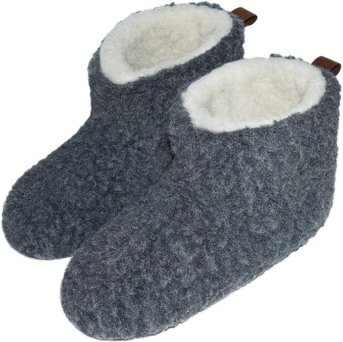 Hüttenschuhe Hausschuhe Stiefel 100/% Schafwolle Lammwolle Weis//Grau Leder Sohle