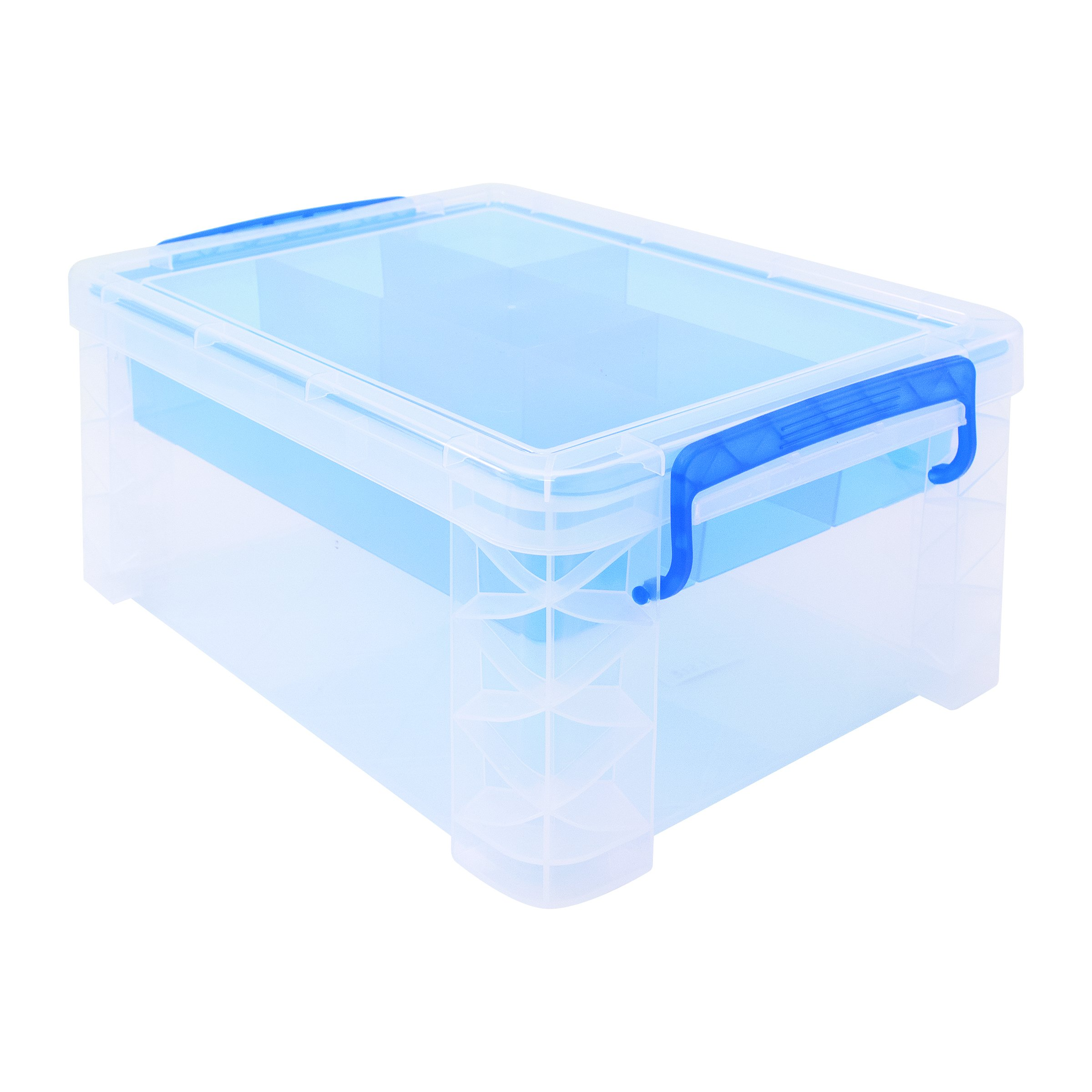 Super Stacker Divided Storage Box with Removable Divider Tray, 14.25'' x 10.3'' x 6.5'', Clear (37371)