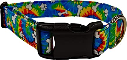 Tie Dye Collar Fabric Dog Collar Olivia and Lemon Funky Tie Dye Dog Collar Pet Supplies Tie Dye-Brights Handmade Dog Collar