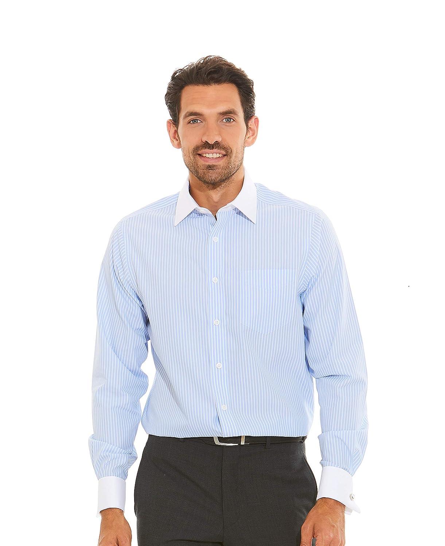 5fb1f671 Savile Row Company Men's Blue Poplin Reverse Stripe Classic Fit Non-Iron  Shirt - Double Cuff: Amazon.co.uk: Clothing