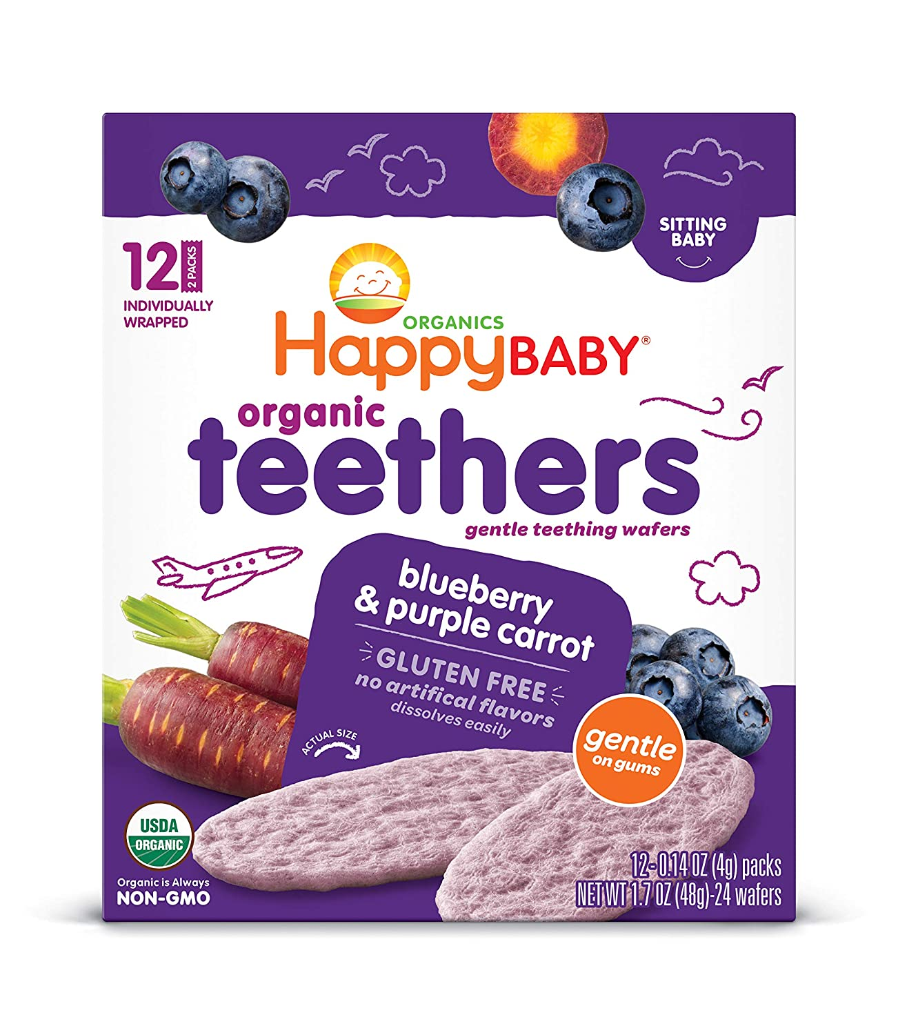 Happy Baby Gentle Teethers Organic Teething Wafers Blueberry Purple Carrot, 0.14 Ounce Packets (Box of 12) Soothing Rice Cookies for Teething Babies Dissolves Easily, Gluten Free No Artificial Flavor