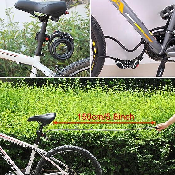 Telgoner Candado de bicicleta con combinación de cadena con 4 ...
