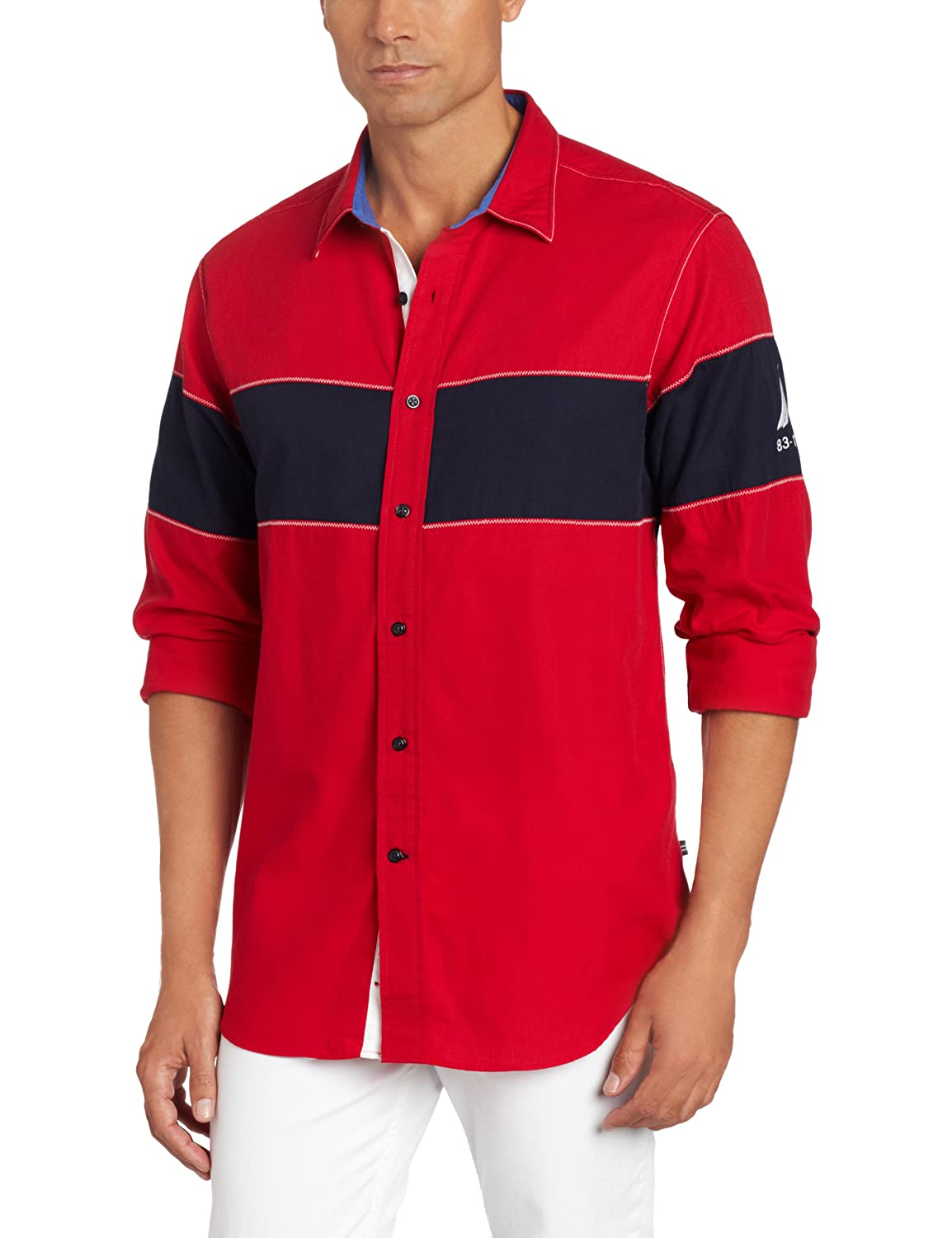 Nautica Mens Long Sleeve Wide Chest Block Woven