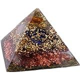 budawi Orgonit Pyramide mitBernstein in der Spitze, Pyramide aus Edelsteinen und Metallen