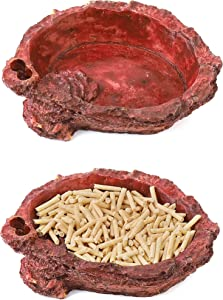 CalPalmy 2 Pack Reptile Food Bowls - Reptile Water and Food Bowls, Novelty Food Bowl for Lizards, Young Bearded Dragons, Small Snakes and More - Made from Non-Toxic, BPA-Free Plastic