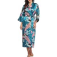 Vogue Bridal VogueBridal Women's Long Kimono Robe,with Pockets- Peacock & Blossom