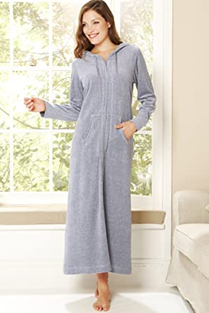 Cotton Rich Velour Zip Dressing Gown: Amazon.co.uk: Clothing