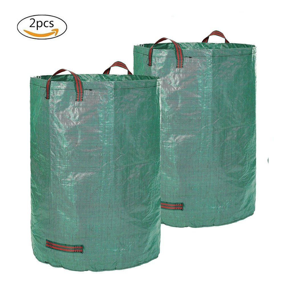 Frideko Gardening Waste Bags, 2 Pack Heavy Duty Reusable Gardening Containers 120L/32 Gallon Polypropylene Leaves Weeds Storage Bag for Garden