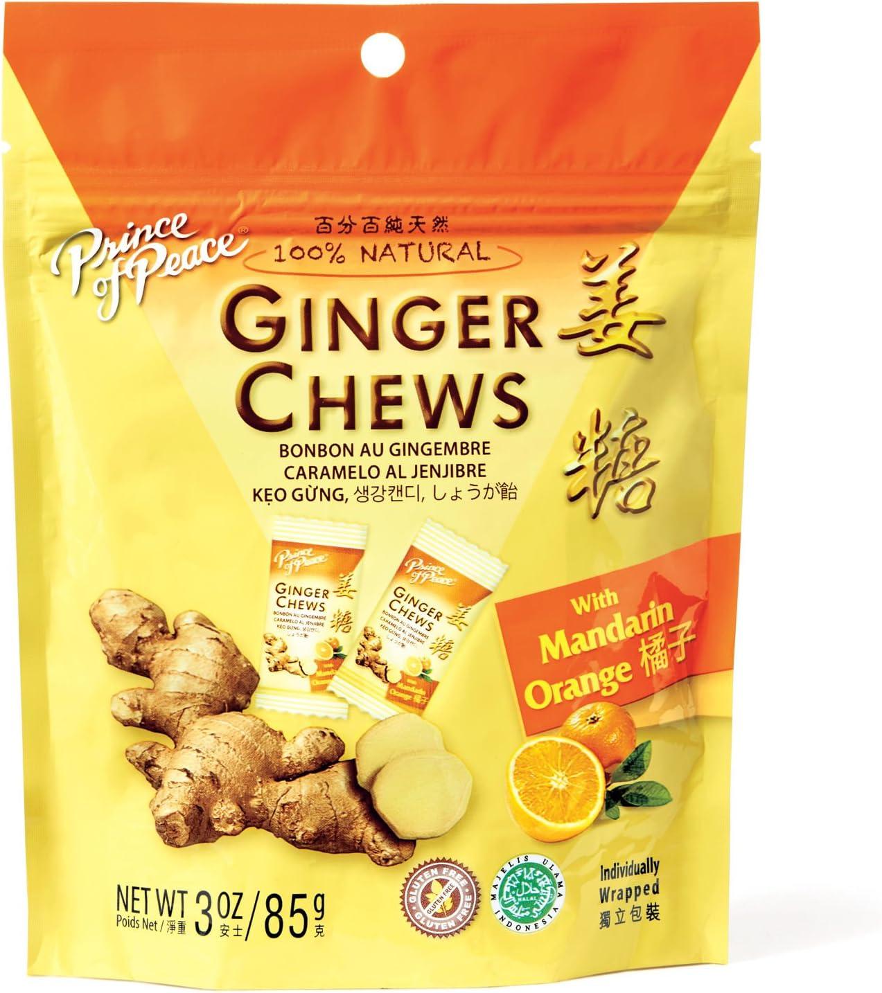 Ginger Chews with Mandarin Orange Prince Of Peace 3 oz Bag