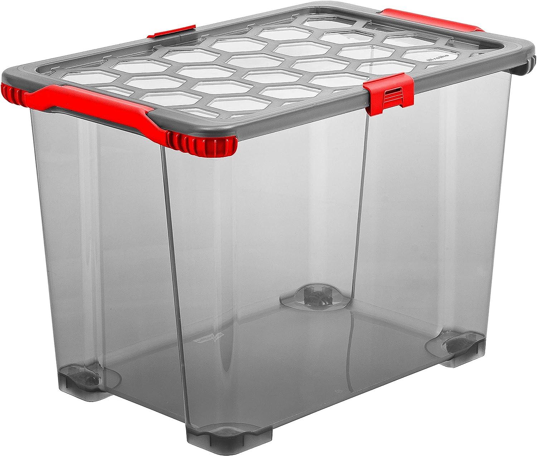 Rotho Evo Total Protection, Caja de almacenamiento 65l con tapa y ruedas, Plástico PP sin BPA, antracita, rojo, 65l 59.0 x 39.5 x 41.2 cm