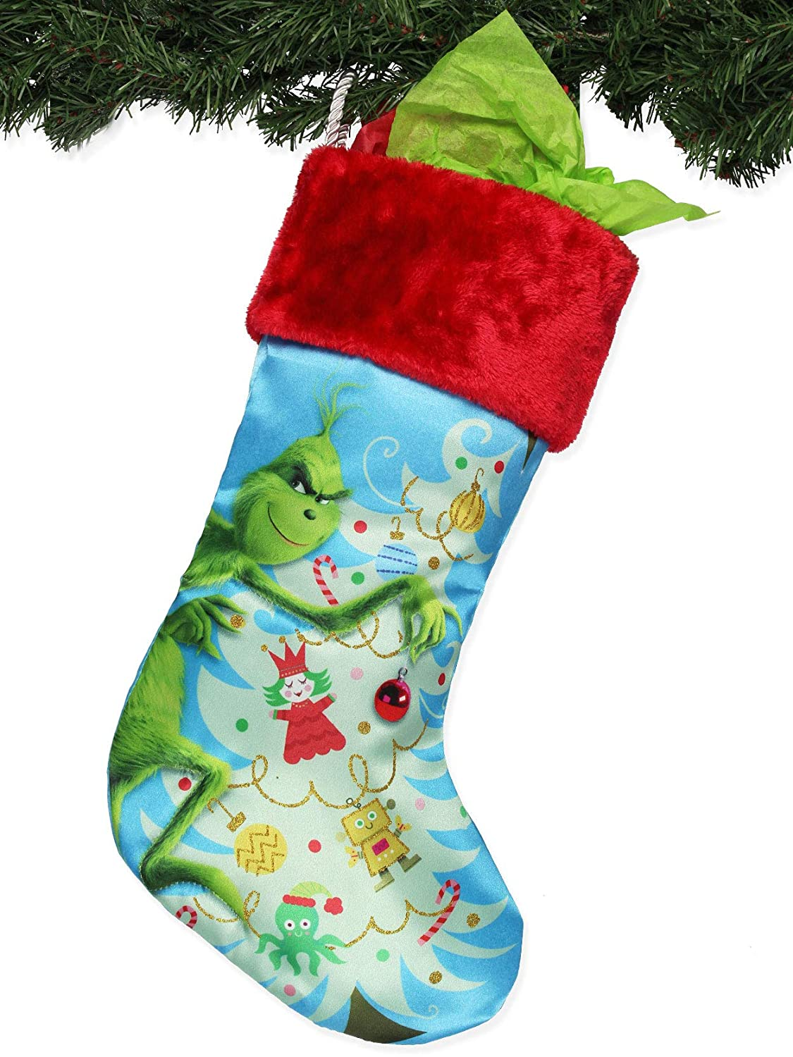Kurt Adler How The Grinch Stole Christmas Satin Christmas Holiday Stocking 19, Blue//Red