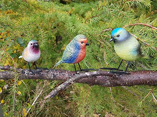 Set of 2 Resin Bird on a Rock Figurines--#P8813