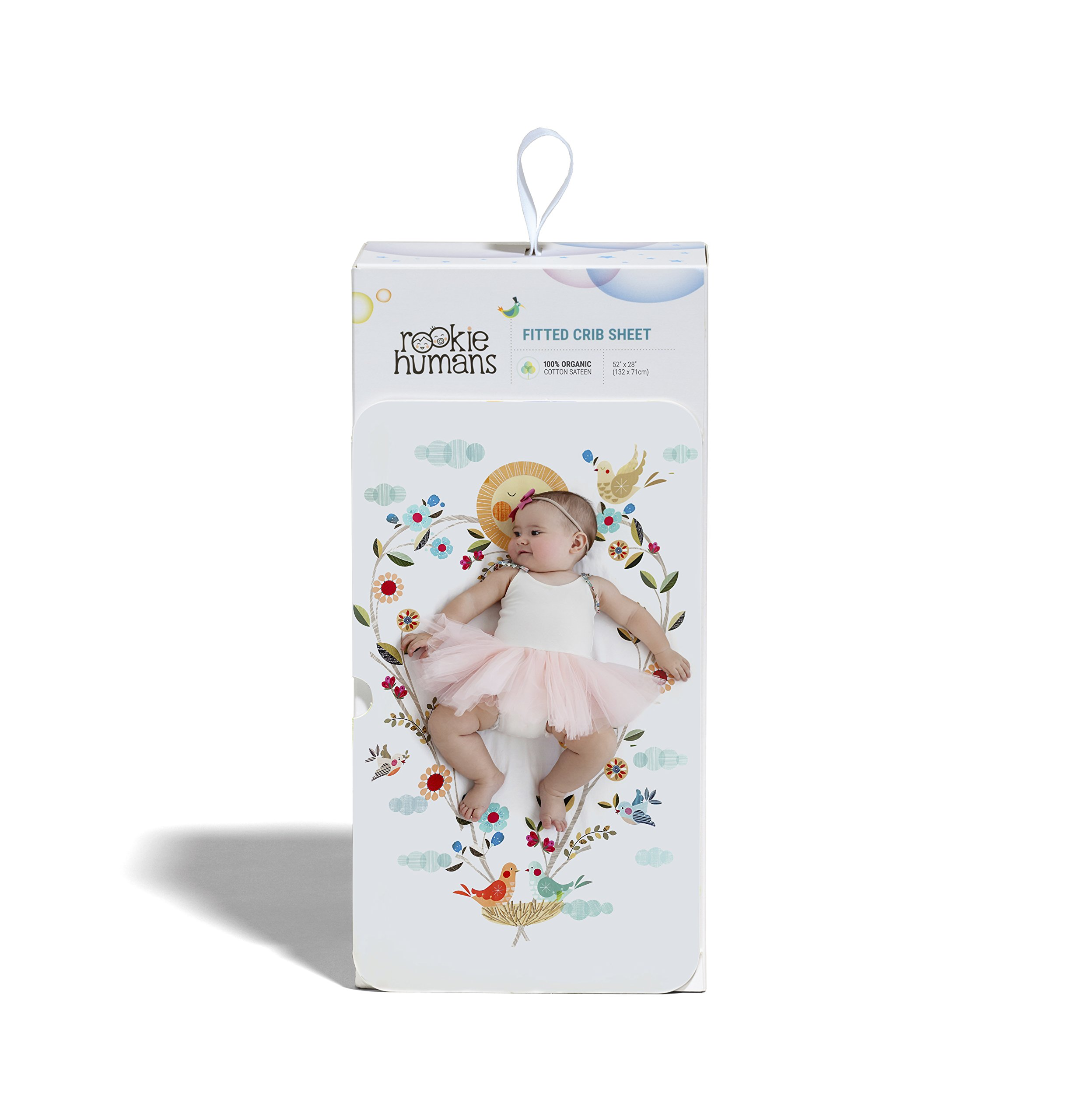 Rookie Humans 100% Organic Cotton Sateen Fitted Crib Sheet: Love Blooms. Complements Modern Nursery Room, Use as a Photo Background for Your Baby Pictures. Standard crib size (52 x 28 inches). by Rookie Humans (Image #3)