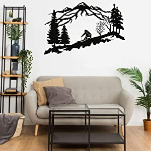 "DEKADRON Metal Skier Wall Art, Mountain and Trees Themed Wall Art, Metal Wall Decor, Ski Lover Gift, Home Decoration, Wall Hangings (18"" W x 11"" H / 45x29 cm)"