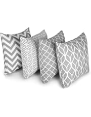 "Penguin Home 100% Cotton Decorative Double Sided Square Cushion Covers with Invisible Zipper 45cm x 45cm - 18"" x 18"" Inches (Set of 4, Grey)"