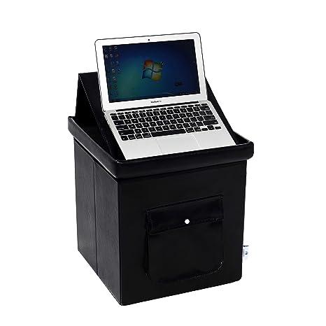 Swell B Fsobeiialeo Folding Storage Ottoman With Laptop Tray Ipad Desk Coffee Table Storage Box Toy Chest Black 15X15X15 Machost Co Dining Chair Design Ideas Machostcouk