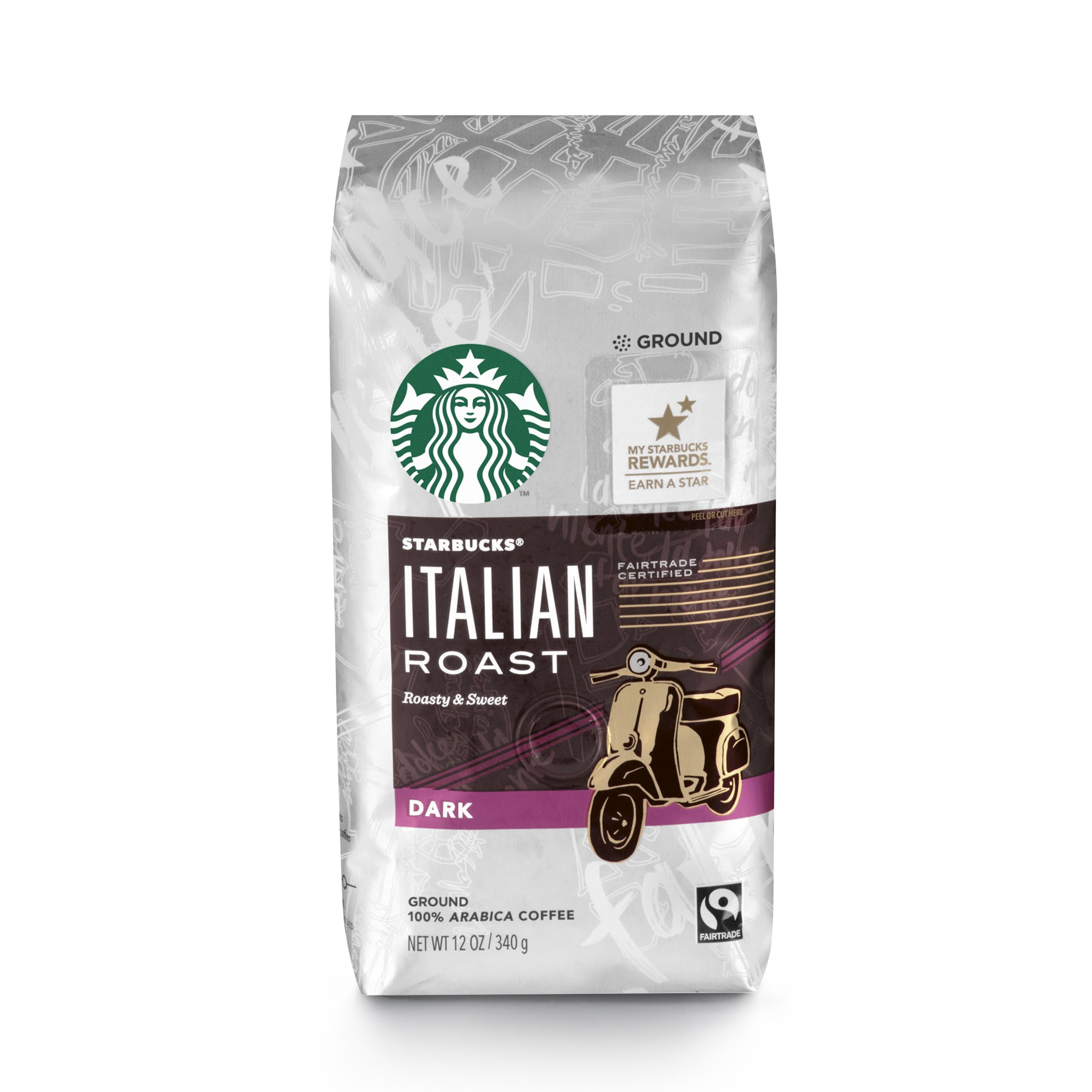 Starbucks Italian Roast Dark Roast Ground Coffee, 12-Ounce (Pack of 6) by Starbucks