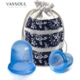 Anti Cellulite Vacuum Silicone Massage Cupping Cups Blue x 2 with full Instructions(1 x Large Size & 1 x Medium Size)