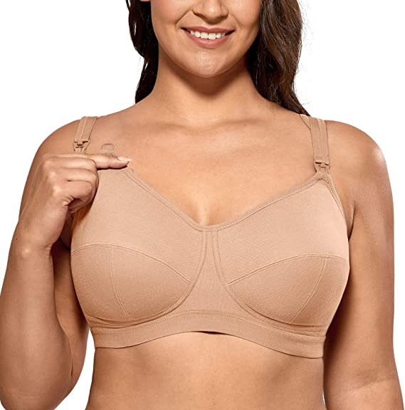 Women/'s Maternity Nursing Bra Plus Size Wirefree Cotton Softcup Supportive