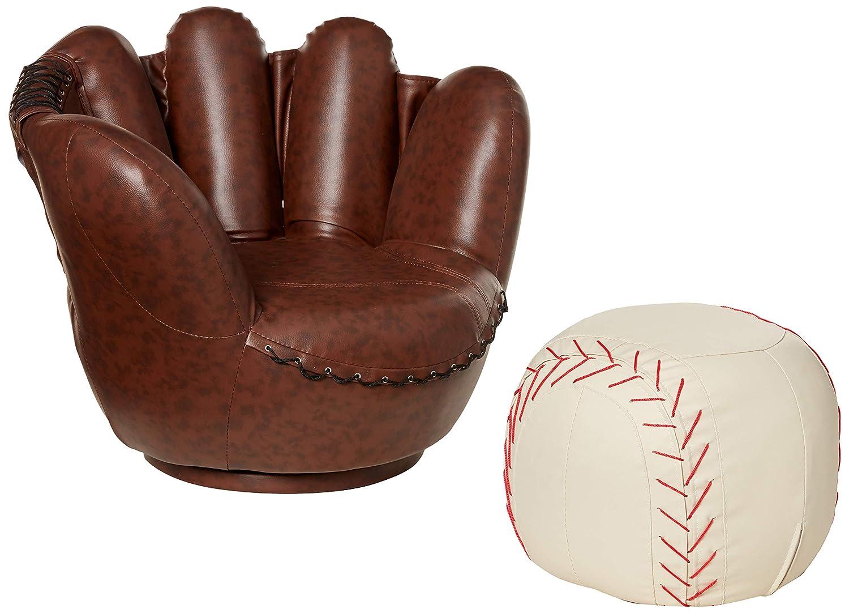 Sensational Crown Mark Baseball Glove Chair Ottoman Inzonedesignstudio Interior Chair Design Inzonedesignstudiocom