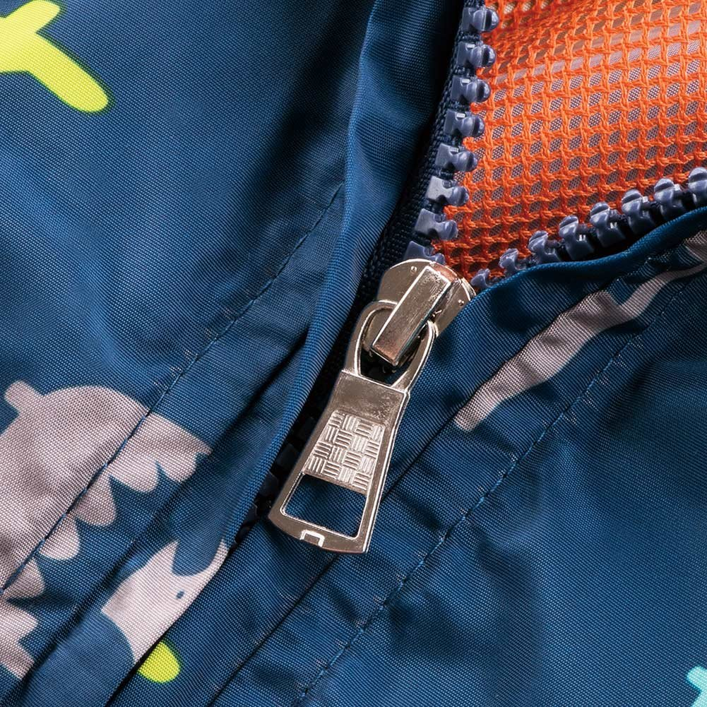 HARVEY JIA Boys Girls Hooded Jacket Lined Outdoor Windbreaker Coat Navy 12M by HARVEY JIA (Image #5)