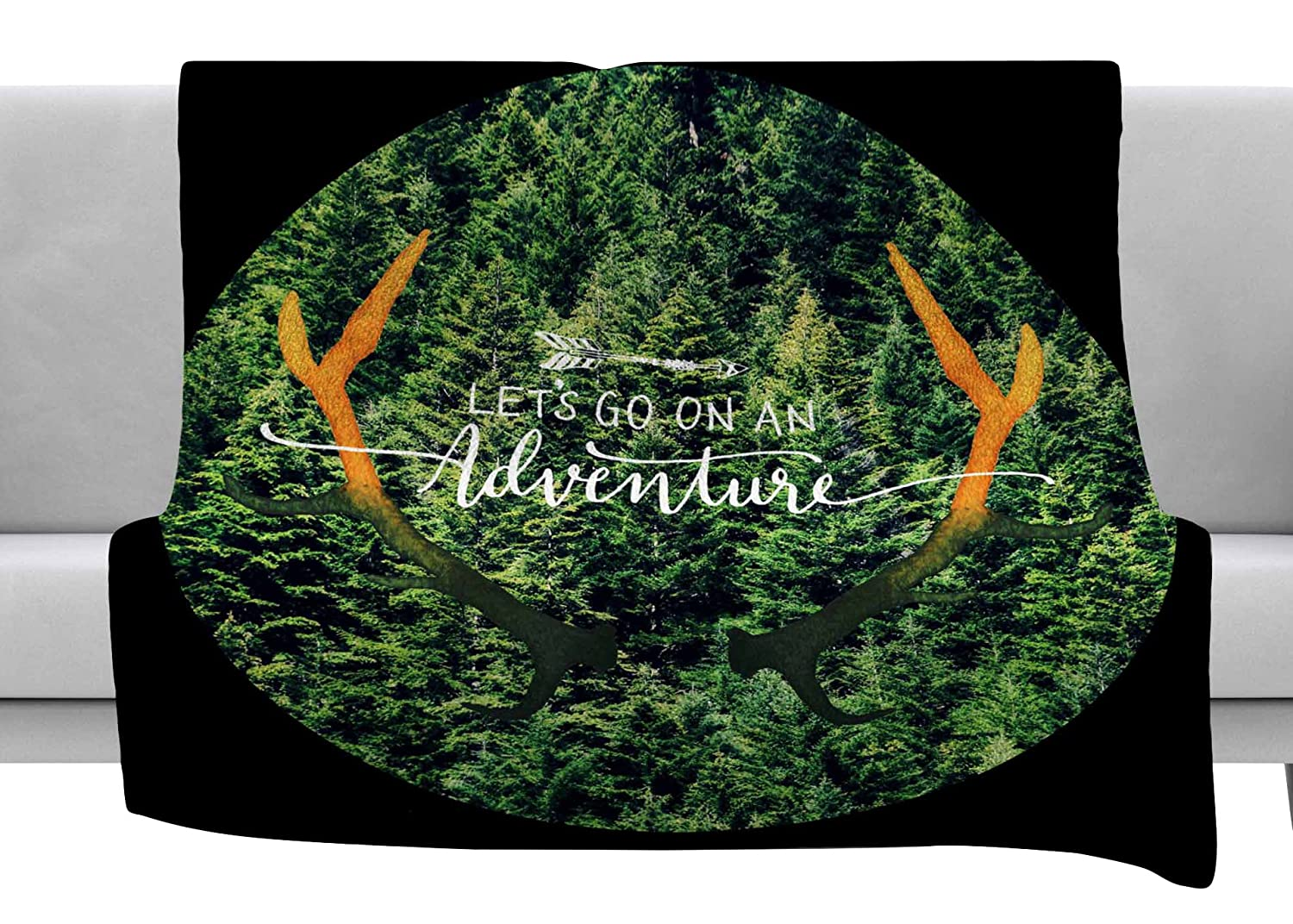 80 x 60 Fleece Blanket Kess InHouse Robin Dickinson Adventure Green Black Photography Throw
