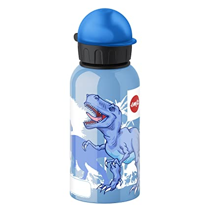 Emsa 514402 Botella Infantil Dinos 0.4 L, Acero Inoxidable, 10x10x32 cm