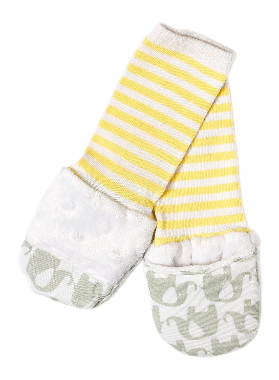 Handsocks Plushy Stay On Strap-Free No-Scratch & Warmth Mittens (Medium (6-12 Months), Olivia (Grey/Yellow Elephant))