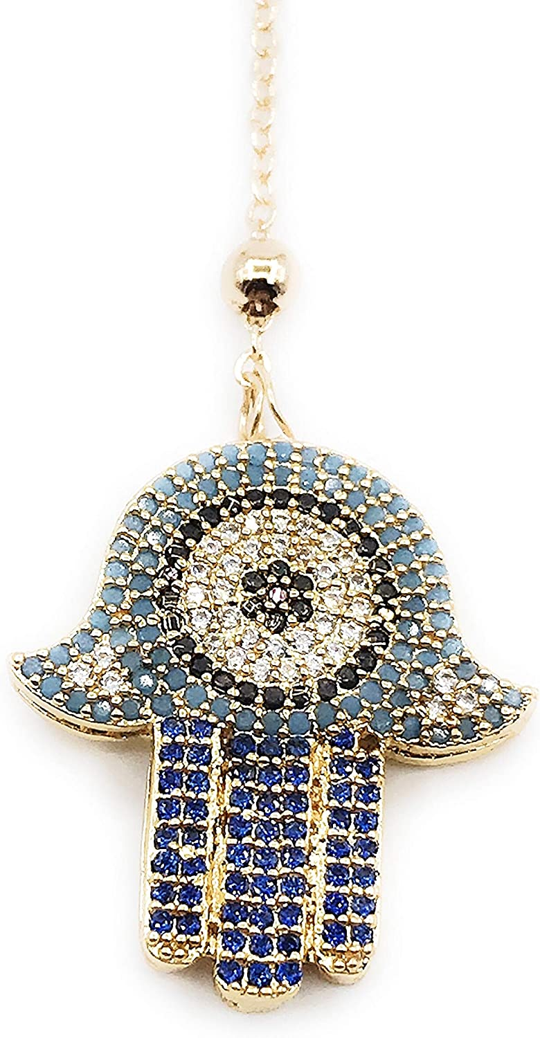 LESLIE BOULES Gold Hamsa Pendant Necklace 18K Plated Chain 18 Inches Length