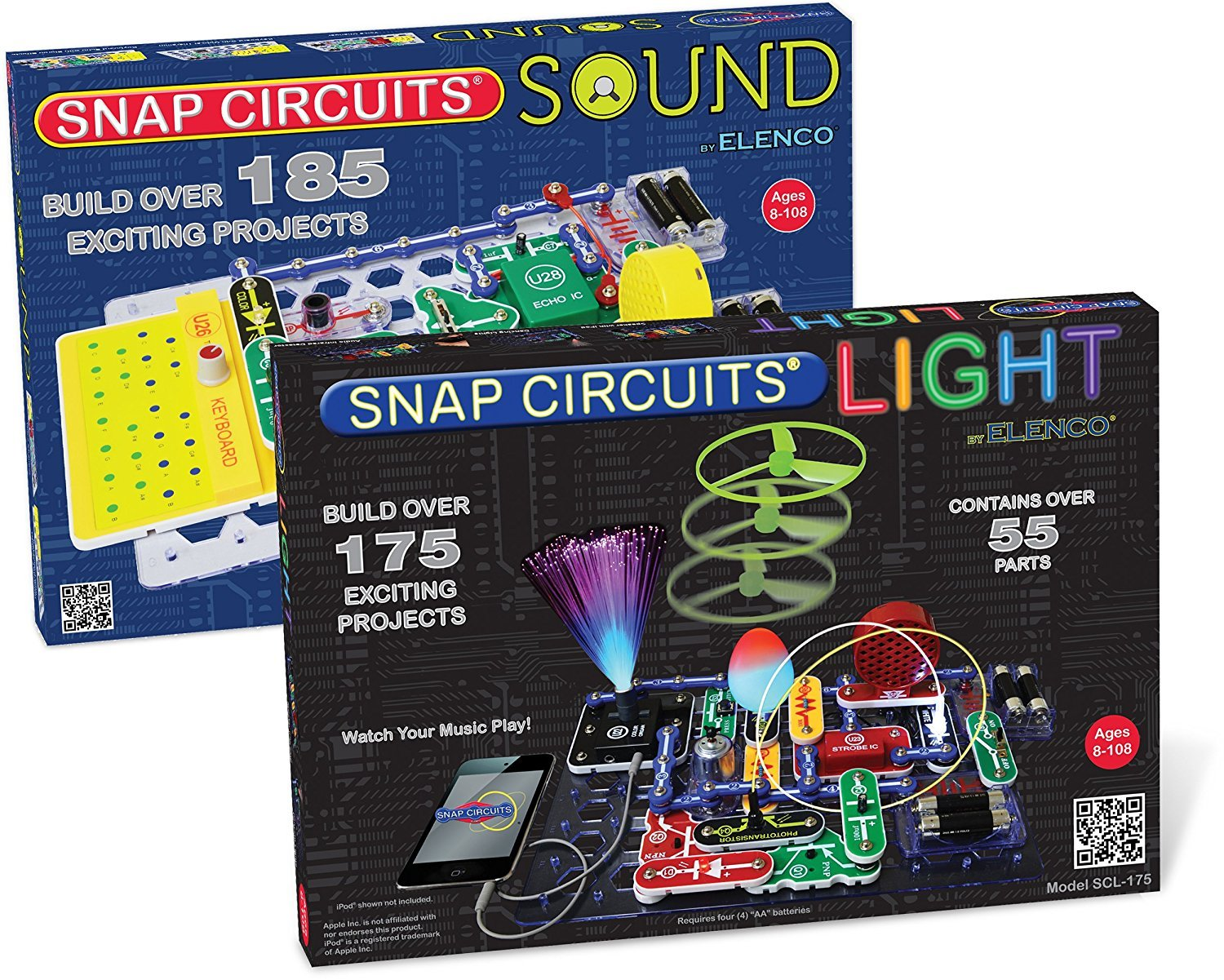 Elenco Electronics Snap Circuits R Deluxe Sound Light Scg125 Green Alternative Energy Kit Learning Combo With Battery Eliminator No Soldering Tools Batteries Its A